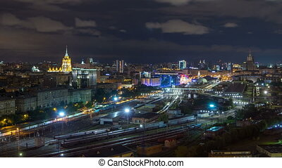 ville, timelapse, kiev, moderne, nuit, moscou, panoramique, station, ferroviaire, russie, vue