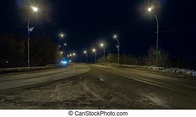 ville, timelapse, nuit, lumières, voitures