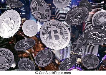 ville, tomber, bitcoins, argent, nuit