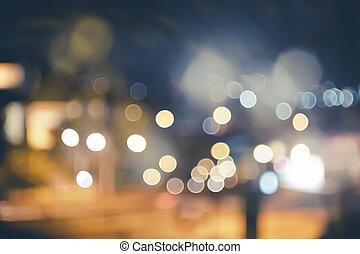 ville, ton, couleur, vendange, fond, brouillé, lumières, bokeh, rue, conception, retro, fond, nuit, ou