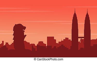 ville, tour, silhouettes, paysage