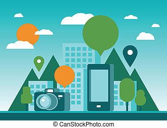 ville, tourisme, illustration, mobilité