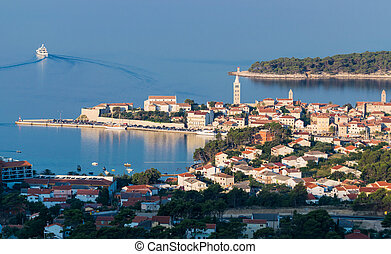 ville, touriste, resort., vue, rab, croate
