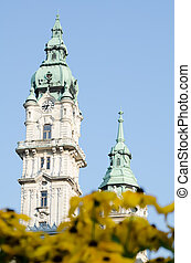 ville, tours, jaune, gyor, fleurs, salle