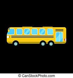 ville, transport, autobus, voyage, isolé, illustration, vecteur, jaune, véhicule, route, tourisme, transport