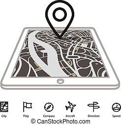 ville, transport, carte, gadget, moderne, perspective,...