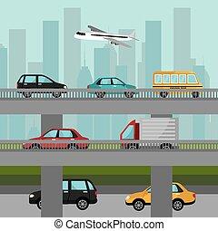 ville, transport, design.