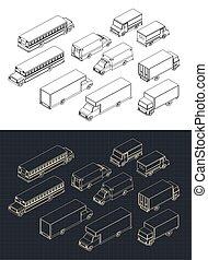 ville, transport, isométrique, ensemble