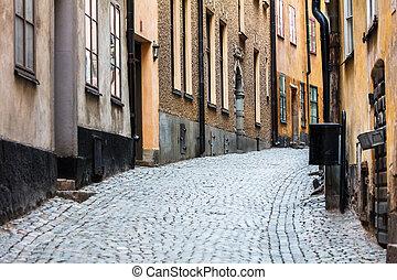 ville, trottoir, vieux, pavé