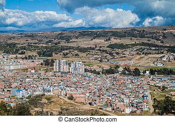 ville, tunja, vue aérienne