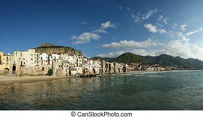 ville, turistic, palermo's, secteur, italy., sicile,...