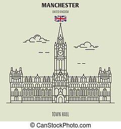 ville, uk., repère, manchester, salle, icône