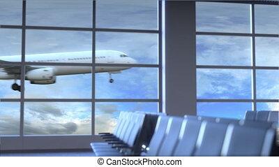 ville, uni, nouveau, commercial, atterrissage, etats, animation, york, international, conceptuel, aéroport., avion, intro, voyager