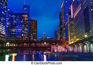 ville, usa, chicago, tours, marina, rivière, nuit