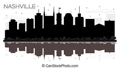 ville, usa, nashville, silhouette., horizon, noir tennessee, blanc