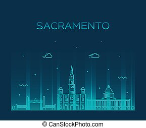 ville, usa, sacramento, horizon, vecteur, californie, ligne