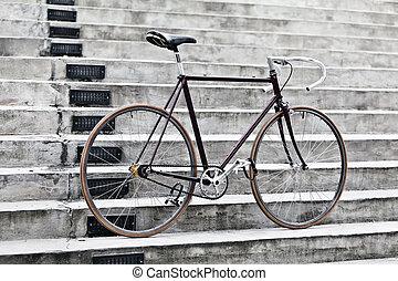 ville, vélo, et, béton, escalier, vendange, style