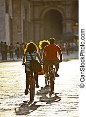 ville, vélo, famille, équitation