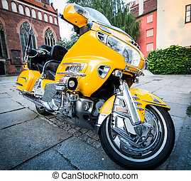 ville, vélo, jaune