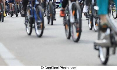 ville, vélo, long, cavalcade