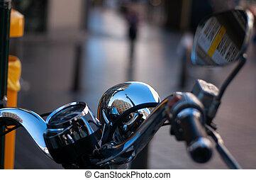 ville, vélo, noir, guidons