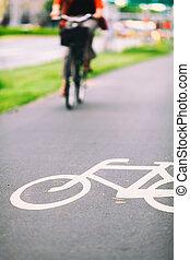 ville, vélo, route, coloré, signe