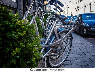 ville, vélo, rue.