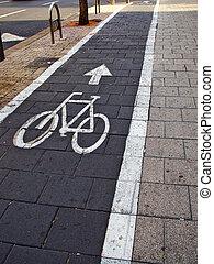 ville, vélo, vélos, couloir