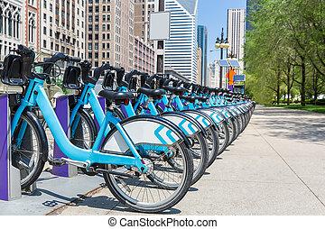 ville, vélos, loyer, stationnement, dans, nyc