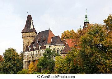 ville, vajdahunyad, parc, château, budapest, hungary.
