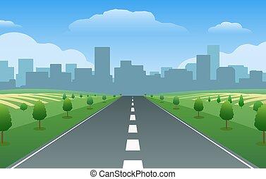 ville, vallée, vide, été, route