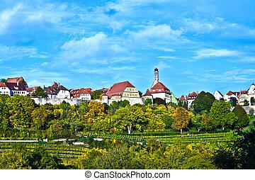 ville, vallée, vieux, moyen-âge, der, rothenburg, ob, tauber, tauber, célèbre, romantique, vu, rivière, temps