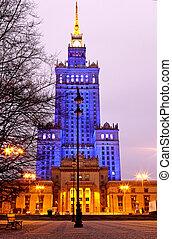 ville, varsovie, nuit