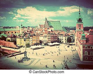 ville, varsovie, vieux, poland., vendange