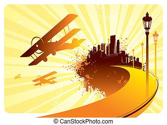 ville, vecteur, &, île, -, illustration, silhouettes, avion, retro, route
