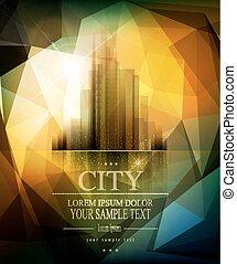 ville, vecteur, bannière, reflet, business