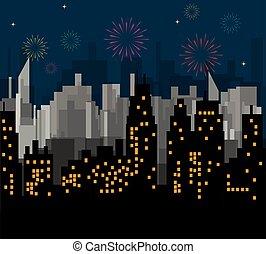 ville, vecteur, célèbre, nuit