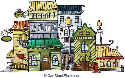 ville, vecteur, dessin animé, dessin