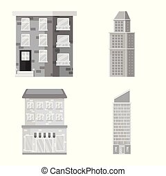 ville, vecteur, ensemble, centre, construction, conception, icon., stockage, illustration.