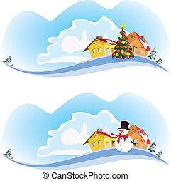 ville, vecteur, -, hiver