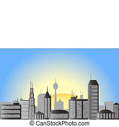 ville, vecteur, levers de soleil, illustration