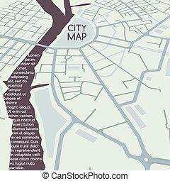 ville, vecteur, perspective, carte