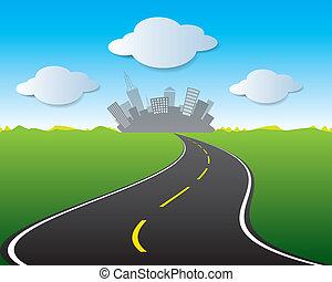 ville, vecteur, route