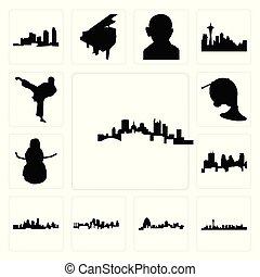 ville, vegas, ensemble, icônes, pittsburgh, kansas, minneapolis, karaté, bonhomme de neige, horizon, fond, francais, las, missouri, blanc, horizon, coup de pied, corne