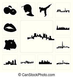 ville, vegas, ensemble, jaguar, horizon, île, icônes, figure, kansas, minneapolis, dc, pittsburgh, lèvres, fond, long, blanc, horizon, chicago, las