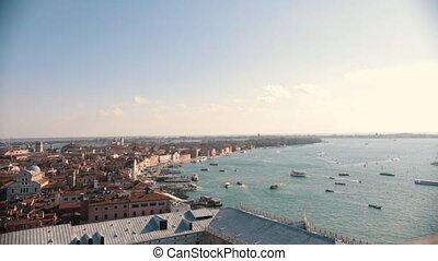 ville, venice., italie, point., élevé, mer, bateaux, présentation