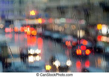 ville, verre, mouillé, lumières, par, nuit
