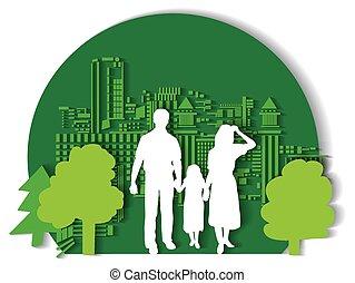 ville, vert, famille, plat