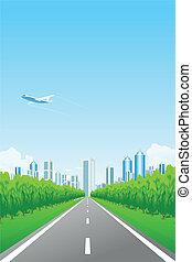 ville, vert, route, paysage