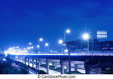 ville, viaduc, scène, route, nuit